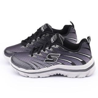 【SKECHERS】大童 輕量記憶型運動鞋(95340LCCBK-灰黑)
