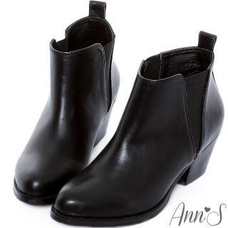 【Ann'S】簡約側邊V型鬆緊粗跟短靴(黑)