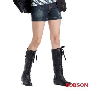 【BOBSON】女款配色拉鍊牛仔短褲(藍160-52)