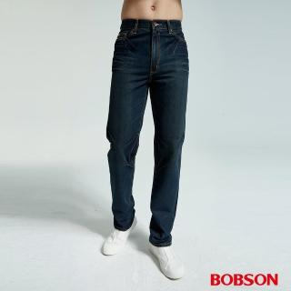 【BOBSON】男款鬼爪痕直筒牛仔褲(藍1667-77)