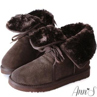 【Ann'S】溫暖甜美繫帶2way真牛麂皮雪靴(深咖)