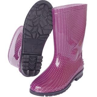 一體成型時尚中筒雨靴/雨鞋(紫點)