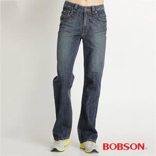 【BOBSON】男款中直筒牛仔褲(藍1706-53)