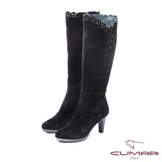 【CUMAR】柔美軍裝風-靴口側V沖孔防水台高跟長靴(黑色)