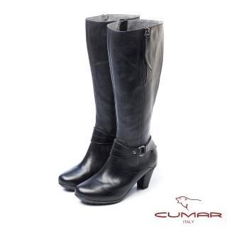 【CUMAR】柔美軍裝風-側拉練牛仔皮環裝飾防水台粗跟長靴(黑色)
