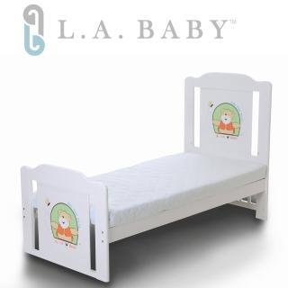 【美國 L.A. Baby】布魯克林童床+雙層護脊床墊(咖啡色  白色)