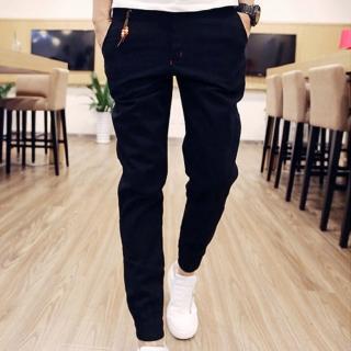 【NBL】L83889黑色縮口九分褲修身束腳褲潮九分哈倫褲(尺寸偏小大腿較粗請購買加大1碼)