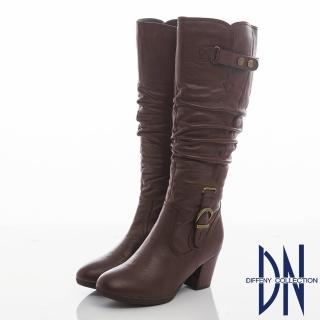 【DN】都會氣質 牛皮抓皺顯瘦粗跟長靴(咖)