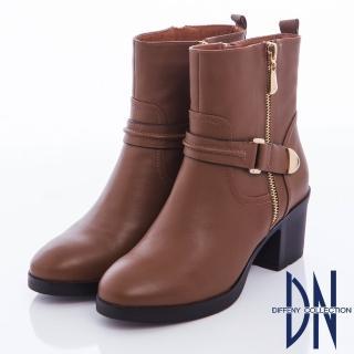 【DN】率性俐落 硬挺牛皮造型拉鍊粗跟靴(咖)