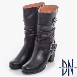 【DN】帥氣MIT 全真皮環帶式皺褶粗跟靴(黑)