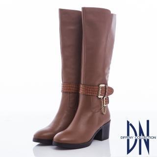 【DN】俐落經典 牛皮拼接金屬踝釦粗跟長筒靴(咖)