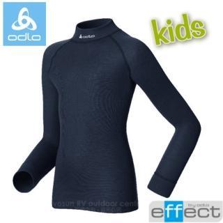 【瑞士 ODLO】effect 兒童.女頂極高領機能型銀離子保暖內衣.兒童衛生衣(深藍 150199)