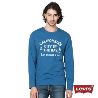【Levis】男款印花藍色圓領純棉長袖T恤