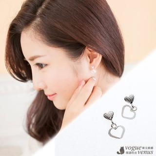 【維克維娜】心心相印。春心蕩漾甜美 925純銀耳環