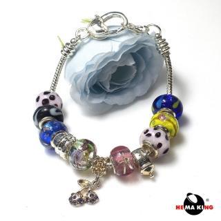 【HEMAKING】七彩琉璃糖果串珠手鍊(串珠與墜子可與潘朵拉 pandora 共用)