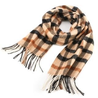 【DAKS】雙面經典格紋羊毛寬版披肩圍巾(駝色)