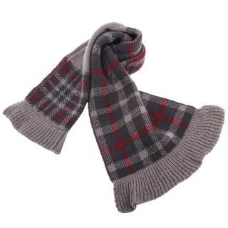 【DAKS】格紋針織羊毛荷葉邊圍脖(灰色)