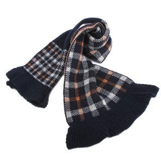 【DAKS】格紋針織羊毛荷葉邊圍脖(深藍)