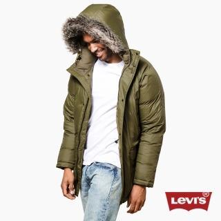 【Levis】男款橄欖綠連帽羽絨外套