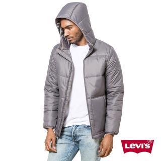 【Levis】男款鐵灰色連帽拉鍊厚夾克外套