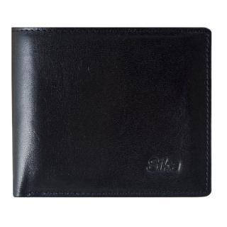 【Sika】義大利素面牛皮簡約中性短皮夾(A8253-03質感黑)