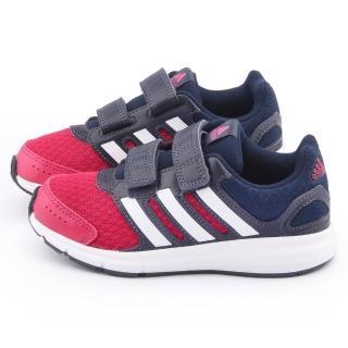 【Adidas】中大童 輕量避震運動跑鞋(B23857-藍紅)