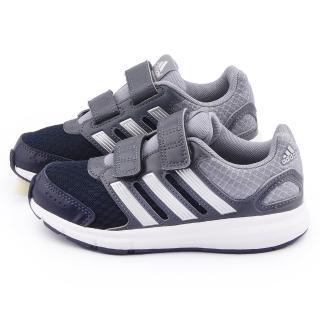 【Adidas】中大童 輕量避震運動跑鞋(B23858-灰黑)