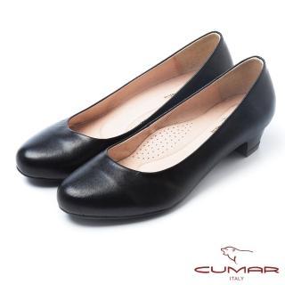 【CUMAR】經典黑與白-優雅簡約素面低跟紓壓OL鞋(黑色)