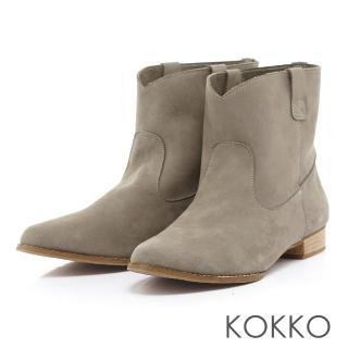 【KOKKO】歐美風靡素面牛麂皮尖頭短靴(灰)