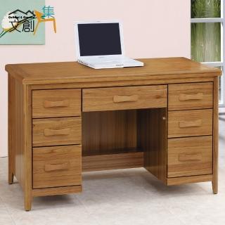 【文創集】克絲坦 4.2尺柚木色七抽書桌