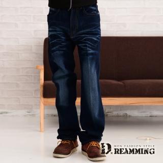 【Dreamming】立體字母口袋刷紋中直筒牛仔褲