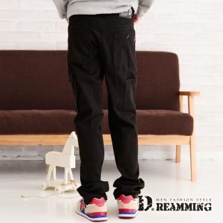 【Dreamming】個性多口袋伸縮中直筒工作休閒長褲(黑色)