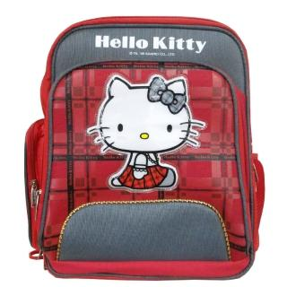【Hello Kitty 凱蒂貓】蘇格蘭格紋高級護脊書包(KT4035)