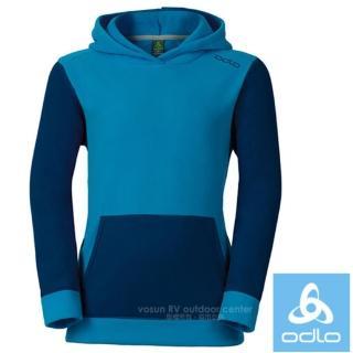 【瑞士 ODLO】兒童新款 輕量化超細纖維連帽套頭刷毛衣.保暖上衣(260849 海軍藍/亮藍)