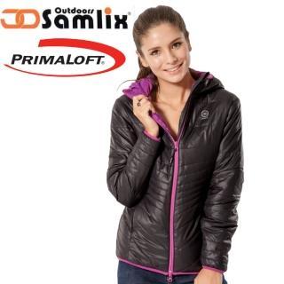 【山力士 SAMLIX】女 Primaloft 輕量保暖外套.休閒外套.雪衣.防風防潑(黑 36813)