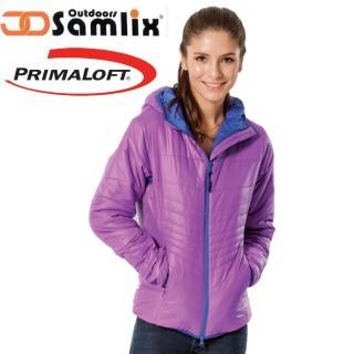 【山力士 SAMLIX】女 Primaloft 輕量保暖外套.休閒外套.雪衣.防風防潑(紅紫 36813)