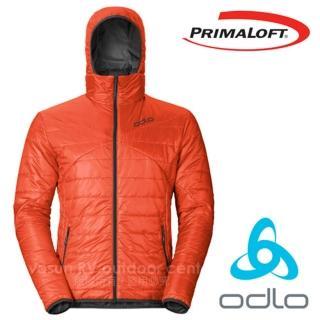 【瑞士 ODLO】男 7折 Primaloft 超輕防風防潑水保暖連帽外套/夾克(525162 橘紅/灰)