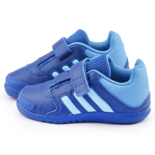 【Adidas】小童 真皮運動鞋(B23994-藍)