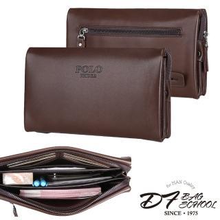【DF BAGSCHOOL皮夾】商務型男必備多隔層真皮手拿包