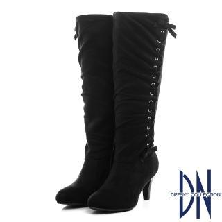 【DN】優雅貴氣 顯瘦抓皺蝴蝶結粗跟長靴(黑)