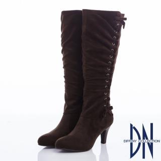 【DN】優雅貴氣 顯瘦抓皺蝴蝶結粗跟長靴(咖)