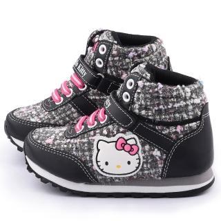 【三麗鷗】Hello Kitty 中大童 毛呢格紋中筒輕量運動鞋(715180-黑)