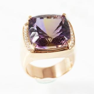 【金郁豐】尊榮頂級天然紫黃晶18K厚金戒(戒圍15)