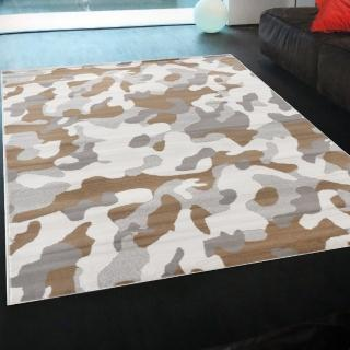 【Ambience】比利時Shiraz 現代地毯(迷彩-白 160x230cm)