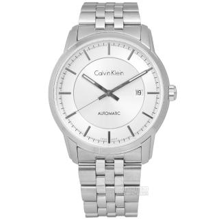 【Calvin Klein】Infinite卓越自信質感不鏽鋼機械腕錶 銀色 42mm(K5S34146)