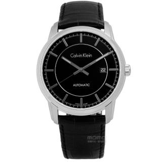 【Calvin Klein】Infinite 卓越自信質感機械皮革腕錶 黑色 42mm(K5S341C1)