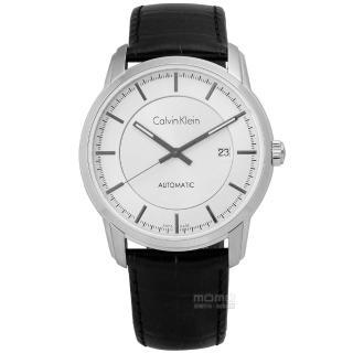 【Calvin Klein】Infinite 卓越自信質感機械皮革腕錶 白x黑 42mm(K5S341C6)