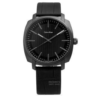 【Calvin Klein】Highline韓流指標金宇彬代言款皮革腕錶 黑色 39mm(K5M314C1)