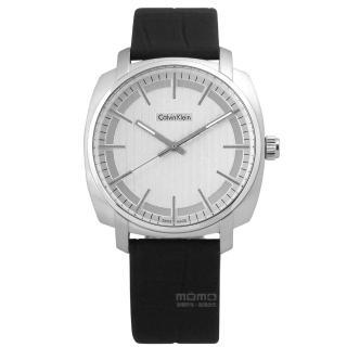 【Calvin Klein】Highline 金宇彬代言款皮革腕錶 銀x黑 39mm(K5M311C6)