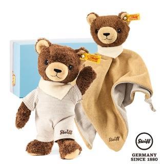 【STEIFF德國金耳釦泰迪熊】咖啡熊 玩偶‧安撫巾(BABY禮盒)